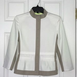 Tahari Ophelia Lined Jacket Cotton Poly Linen